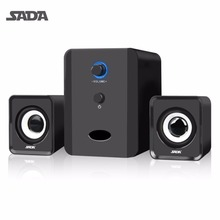 SADA Mini Portable Combination Speaker Stereo Desktop PC Laptop Computer Speaker 3.5mm Audio Jack USB