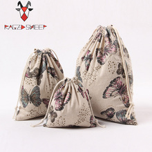 Raged Sheep Fashion Drawstring Cotton Grocery Shopping Bags Folding Butterfly Printed Shopping Cart Eco Grab Reusable Bag(China)