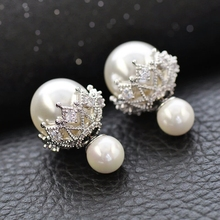 2017 New Fashion Big Pearl Jewelry Temperament Rhinestone Multi Color Ball Stud Earrings For Girl Earrings Jewelry