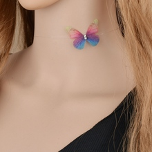 MissCyCy New Fashion Designer Crystal Colorful 3D Yarn Butterfly Chokers Invisible Fishline Silk Choker Necklace for Women