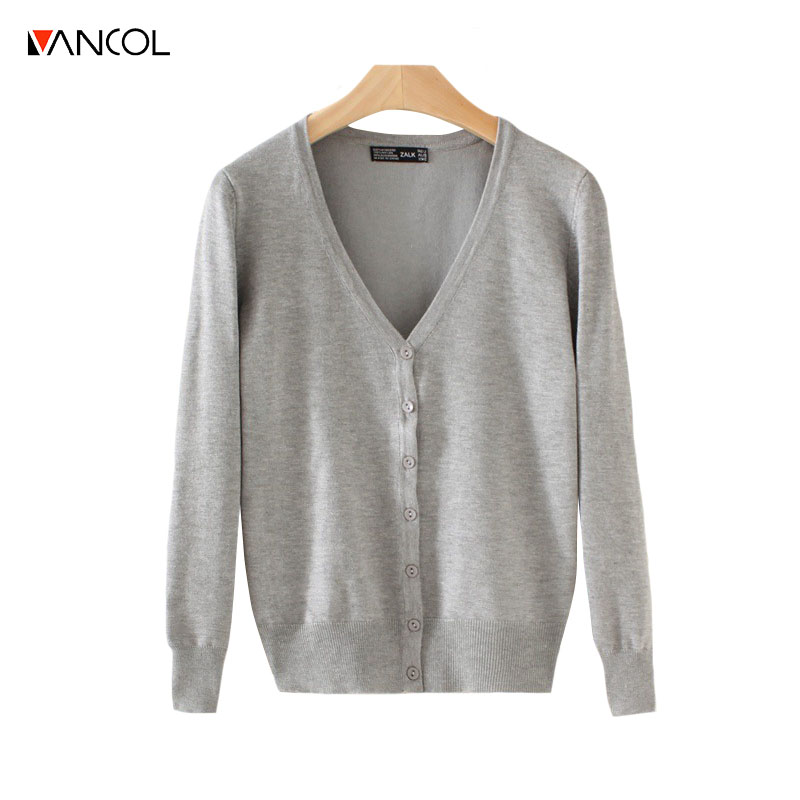 Vancol 2017 Candy 20 Colors Cheap Fall Cardigan Long sleeve Jacket Women V Neck Cashmere Spring Female Button Knitted Cardigans(China (Mainland))