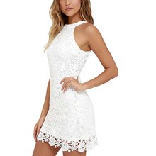 Buy Women Elegant Wedding Party Sexy Night Club Halter Neck Sleeveless Sheath Bodycon Lace Dress Short Big Size new