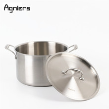 Agniers 8L 26cm Stainless steel Stock Pot with steel cover Multi-Ply Clad Soup Pot with lid(China)