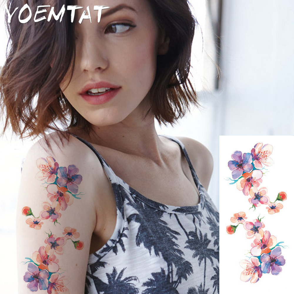 25 style flower arm shoulder tattoo stickers flash henna tattoo fake waterproof temporary tattoos sticker women 20