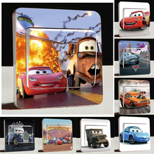 Fashion Cute Cars 2 Light Switch Stickers,3D Cartoon Cars Poster Wall Stickers For Kids Room Decor Light Switch stickers