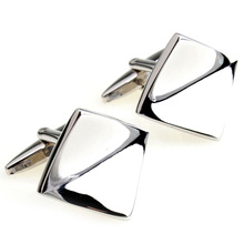 Cufflinks Retail The spatiotemporal silver gold mirror square male cufflinks nail sleeve 155663 free shipping+free gift box(China)