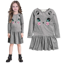 fashion classic girl dress cute little cat print gray dress for 2-8yrs girl infantil vestido princess dress kid clothes hot