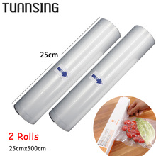 2 Rolls/Lot 25cm x 500cm Vacuum Heat Sealer Food Saver Bags Food Storage Bags Saran Wrap for Vacuum Food Sealer Packing Machine