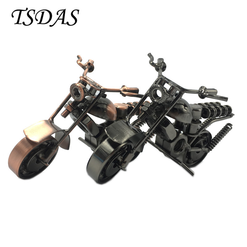 Creative Handmade Motorcycle Model Toys 2 Colors in Stock Metal Motorbike Model Toy For Men Gift Home Decor(China)