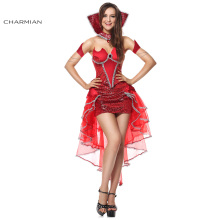 Charmian Sexy Red Devil Queen of Darkness Christmas Costume for Women Corset Top Body Shaper Halloween Costume Party Dress(China)