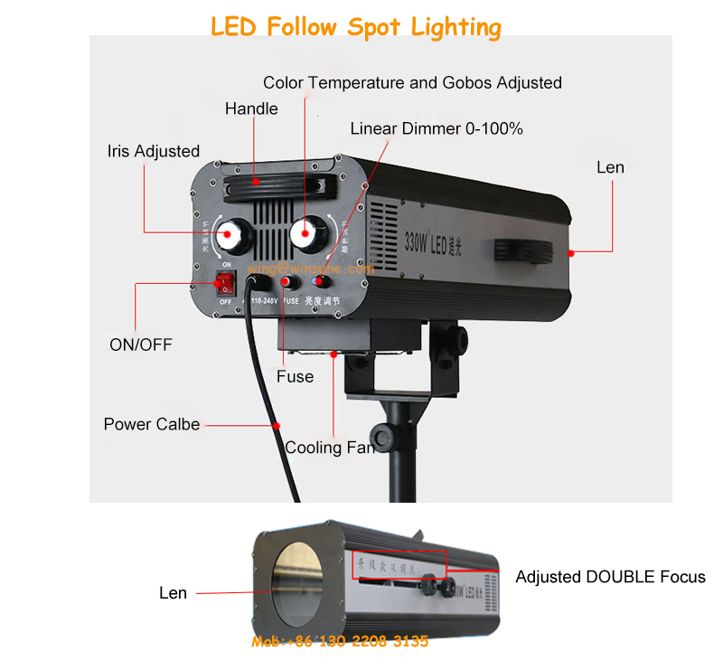 Warm White LED Wedding Followspot 330W