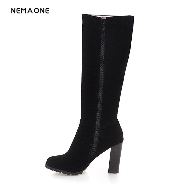 NEMAONE Side Zipper Knee-high Riding Boots Women High Thick Heel Winter Boots black color<br>