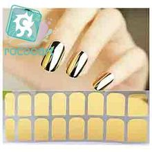 Rocooart M8601 New hot Fashion Smooth Gold Foil Armour Nail Sticker Art Decoration Sticker Patch Wraps professional