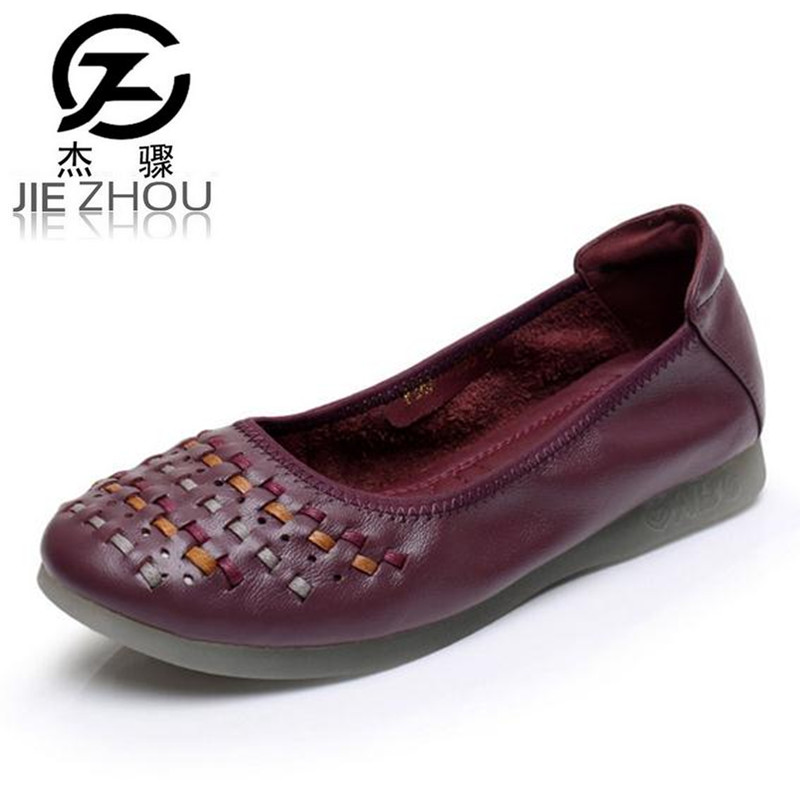 Spring and autumn soft bottom Genuine leather Flats womens shoes non-slip pregnant women Peas shoes obuv$ Schuhe skor ayakkab<br>