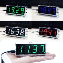 4 Bits Digital Tube DIY kit LED electronic clock microcontroller GREEN LED digital clock time thermometer +(China)