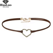 HUALUO New Fashion Red Blue Coffee Colors Velvet Choker Necklace Heart Necklaces For Women Girls Jewelry NW3477(China)