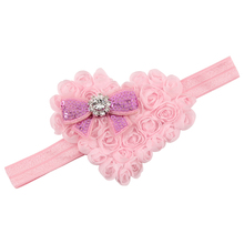 1 PC Trendy Lovely Girls Elastic Hairband Crytral Heart Headband Headwear Hair Band Accessories H046(China)