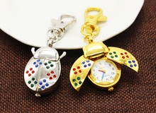 1pcs/lot Gold and silver beetles pattern jelly quartz pocket watch women children Christmas gift pendant necklace watch