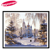 Megayouput 5d diy diamond painting cross stitch kits SNOW Castle scenery round diamond mosaic kits diamond embroidery landscape
