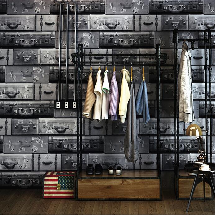 Reminisced wallpaper vintage luggage retro leather finishing box wallpaper<br>