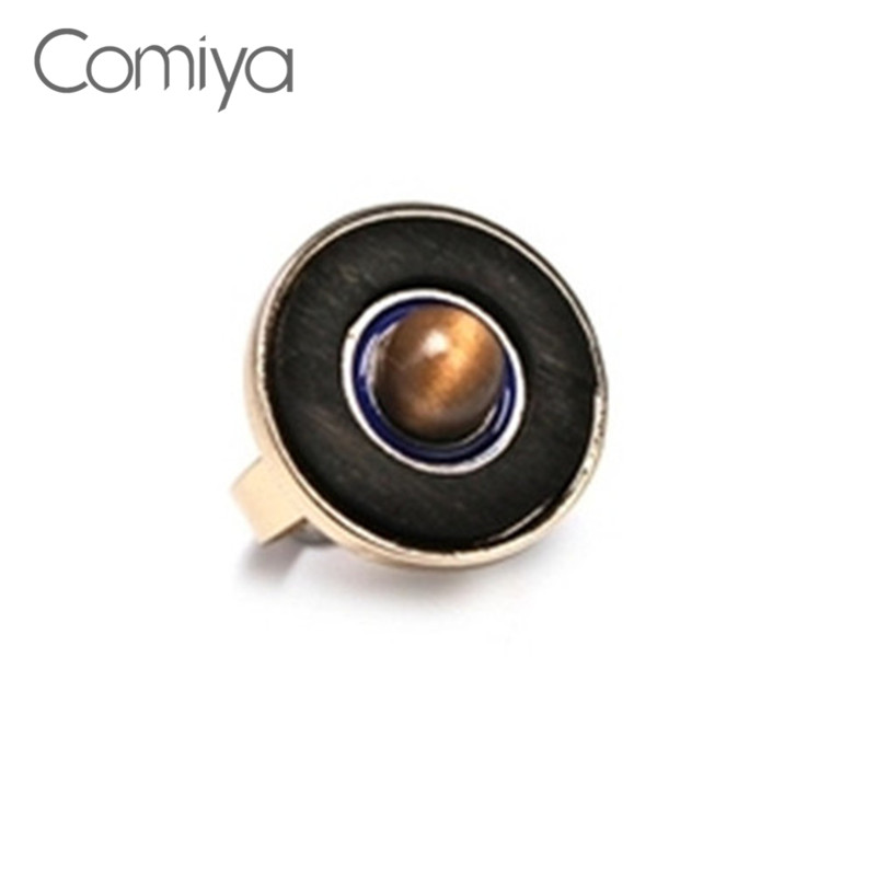 Comiya Wood Round Zinc Alloy Rings for Women Charms Bague Ball Stone Femme Online Shopping Indian Accessories Ring Bijoux(China)