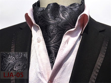 CityRaider Paisley Print Designer Men's Silk Grey Cravat Wedding Cravats New Black Mens Ascot Ties For Men Tie Necktie CR013