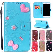 Buy Iphone7 7plus Love Heart Book Style Leather Wallet Flip Butterfly Case Cover Capa Apple iPhone 7 7 Plus Phone Bags+Strap for $5.23 in AliExpress store