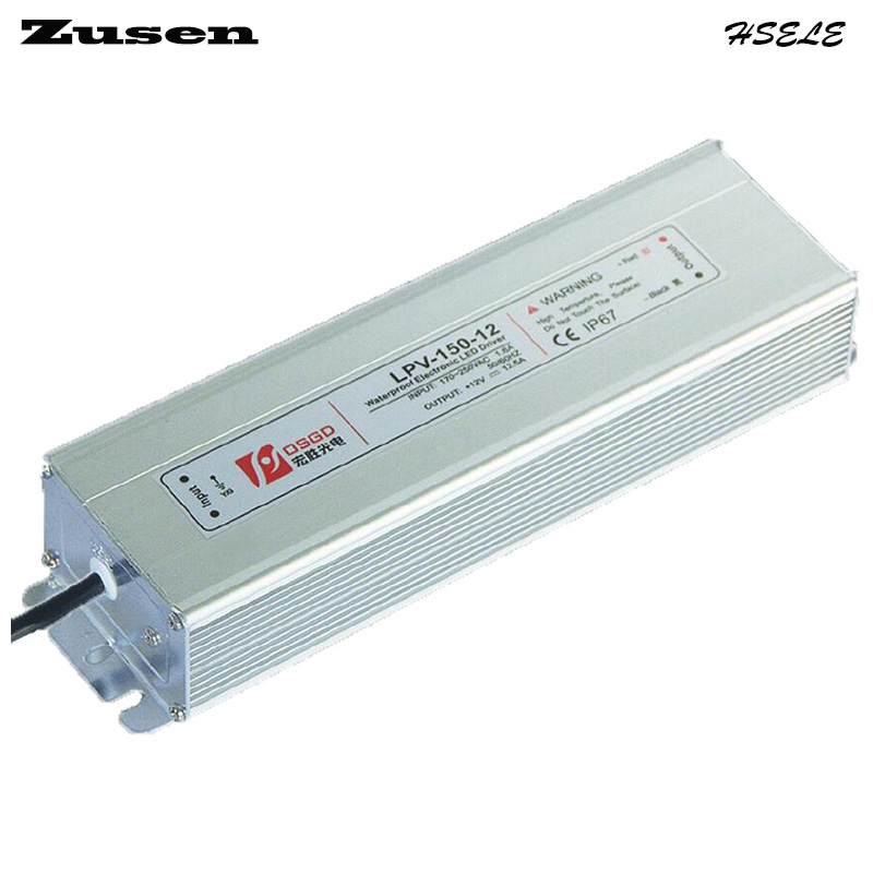 Zusen LPV-150W-12V 12.5A  LED waterproof Switch Power supply 220VAC to 12VDC IP67<br>