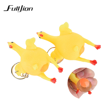 Fulljion Antistress Stress Relief Fun Toys Entertainment Gag Practical Jokes Lizun Laying Egg Hens Chicken Ring fidget Relax Toy(China)