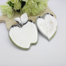 304 Stainless Steel Creative Apple Heart Shape Plate Mirror Polished Fruit Snack Dish Solid Food Tray  Tableware Christmas gift