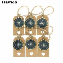 Feestigo 6sets/Lot Novelty Kids Birthday Wedding Souvenirs for Guests Compass+Heart Kraft Paper Tags Travel Themed Party Favors(China)