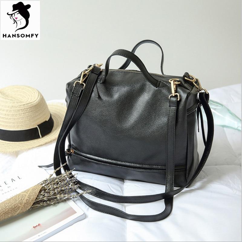 Fashion women leather handbag double shoulder strap ladies classic pillow motorcycle shoulder bag boston messenge bag bolsa<br>
