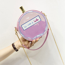 Women perfume bottle shape chain mini circle handbag popular small bag messenger bag round