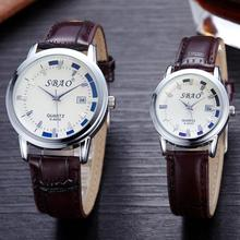 2PCS/SET top brand luxury Fashion watch for lovers Couple Trends Calendar High-grade Business Belt Watch hot sale gifr for girl