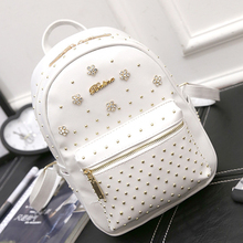 Lovely Rivet Diamond Women Backpacks Ladies Floral PU Leather Travel Shopping Backpacks