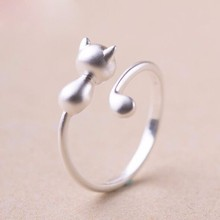 1 pcs Fashion Silver Ring Sweet Cute Cat Kitty Open Ring Jewelry Kitty Cat Style Summer Fine Jewelry Free Delivery R02(China)