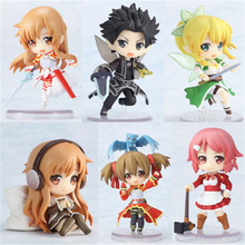 Anime Game Sword Art Online Figure Toys 6pcs/lot Figma Kazuto Asuna PVC Model Figurine Model Set Kids Cosplay Gift 6cm