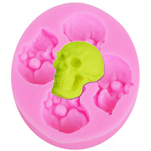M527 DIY Skeleton Head Skull Silicone Mold Styling Candy Jelly Mould Fondant Halloween Cake Decorating Pastry 6.6*5.8*0.9cm