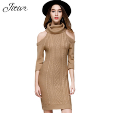 Buy Winter Dress 2017 Knitted Dresses Women Turtleneck Slim Solid Sexy Dress Plus Size Vintage Vestidos Shoulder Robe for $19.78 in AliExpress store