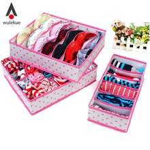 3PCS Hot Selling In Set Rose Pink Dot Non-woven Design Home Folding Storage Box For Underwear Boxes Sock Bra Ties Organizer(China)