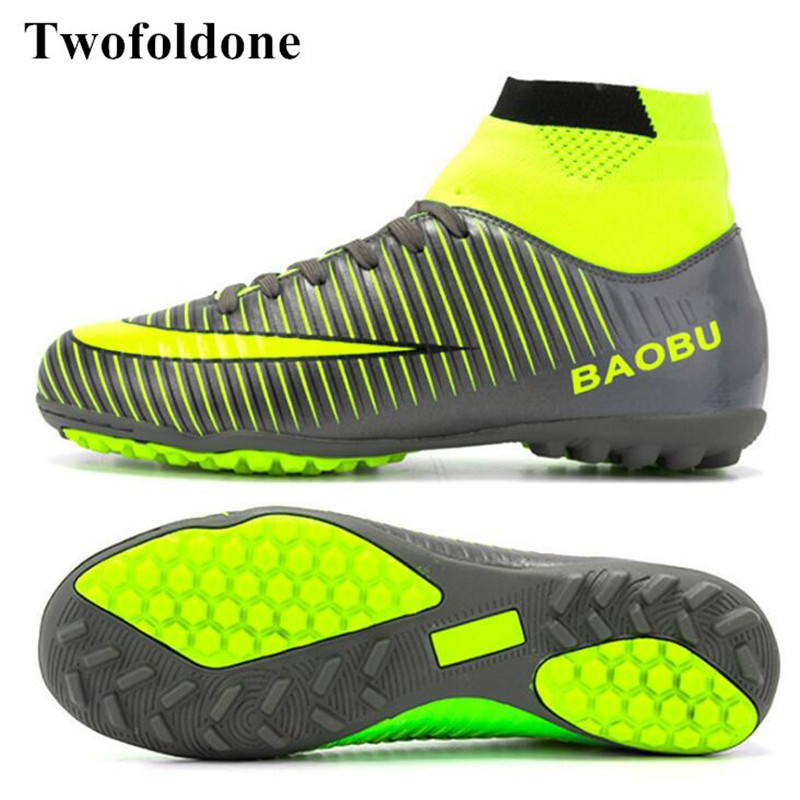 Indoor Men football Shoes Cleats Football boots Pu Leather Sneakers ankle Soccer Boots boys Sport Soccer shoes 39-45<br>