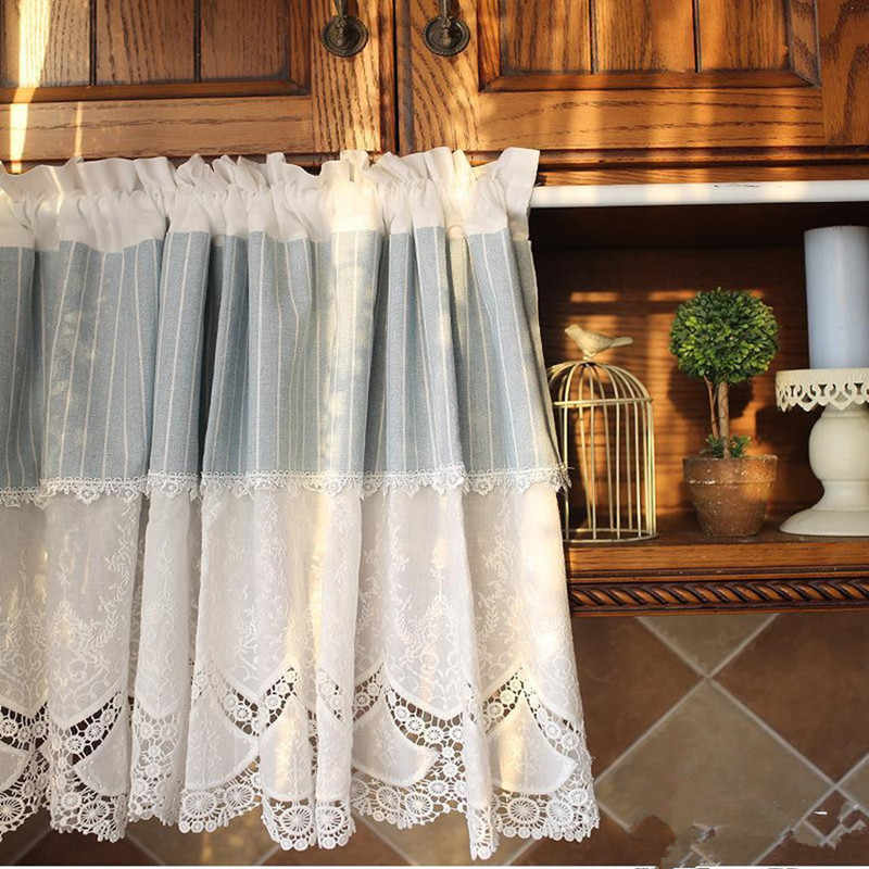 Country Style White  Embroidered Splice Blue/White Stripe Hollow Lace Cotton Bunk Kitchen Curtain Home Decorative Curtain 150cmW