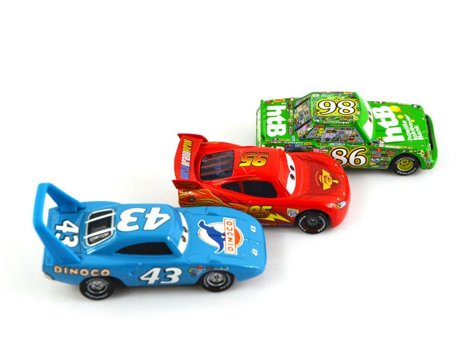 3Pcs/Set 100% Original Pixar Cars 2 The King/Chick Hicks/Mcque Diecast Metal Kids Toy Lightning McQueen(China)