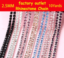 2.5MM 10Yard/roll High quality diamond Rhinestone Chain factory outlet(China)
