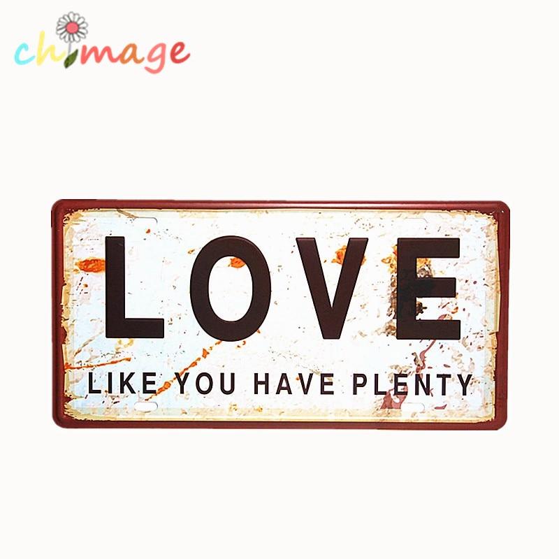 Love Like You Have Plenty Car License Plate Vintage Tin Sign Bar Pub Home Kitchen Wall