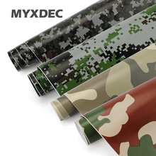 MYXDEC 50cm Wide Premium Camo Car Sticker Vinyls PVC Motorcycle Sticker Film Army Military CAMO Camouflage Green Woodland Decal(China)