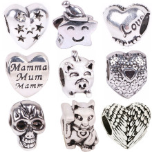 NEW 1pc Free Shipping Silver Bead Charm European Love Heart Clover Owl Boy Paw Family Fashion Bead Fit Pandora Bracelet Necklace