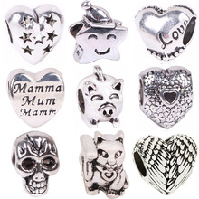 NEW 1pc Free Shipping Silver Bead Charm European Love Heart Clover Owl Boy Paw Family Fashion Bead Fit Pandora Bracelet Necklace(China)