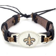 New Fashion Orleans Saints Football Team Leather Bracelet Adjustable Leather Cuff Bracelet For Men and Women Fans 10PCS(China)
