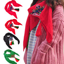 Women Ethnic Spring Fall Retro Scarf Chinese Style Embroidery Cotton Linen Shawl Scarves with Tassel H9